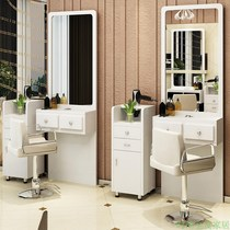 Barber shop mirror retro hair salon modern single wall mirror European solid wood makeup salon mirror custom