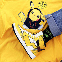 AJ High-Top Female Pikachu cotton shoes 2019 new autumn and winter warm and velvet tide shoes net red Joker student board shoes