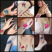 Tattoo tattoo stickers female flowers waterproof rose lasting concealer tattoo stickers Korean simulation