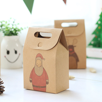 10 vintage kraft paper cartoon Christmas gift box gift bag candy storage small paper bag