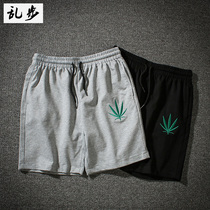 European and American West Coast street tide brand Leisure beach pants Ulzzang Harajuku wind port wind Hemp leaf shorts men and women