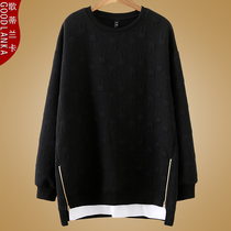 2019 autumn and winter New plus size womens loose fat mm thin yangqi in the long section of the crew neck sweater 200 kg