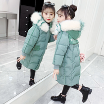 Girls cotton clothing 2019 new Korean version of the yangqi thickened childrens clothing in the Big childrens winter clothing in the long section of down cotton jacket