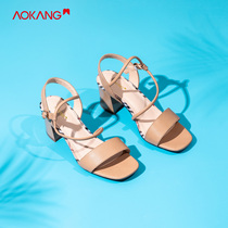 Store shipping) aokang shoes 2019 summer new fashion word with elegant square head high heels sandals