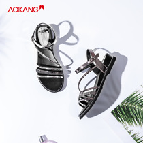 (Store delivery) aokang shoes 2019 summer New Fashion Europe and the United States Rhinestone slope with casual sandals women