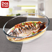 Heat-resistant transparent glass fish plate household large fish plate steamed fish creative dish microwave baking plate tableware