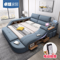 Smart massage tatami cloth bed fabric bed master bedroom 1.8 m double bed modern simple multifunctional soft bed