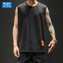 Tide brand oversize sleeveless T-shirt male sports basketball fitness waist fat plus fat loose wear vest tide