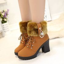 2018 New ladies Autumn winter Martin boots female Inverness wind high heel boots rough heel snow boots with velvet womens boots