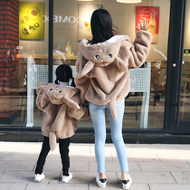 Parent-child loaded winter dress female child autumn and winter 2019 new model Rex rabbit fur grass sound Network red with cotton coat jacket