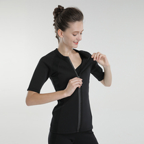 Sweaty womens top short-sleeved T-shirt fitness wear hot sweat sweating clothing waist-to-waist sweat suit.
