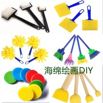 Art kindergarten art area material tools teach rubber palm stamp stencil painting hand sponge brush roller
