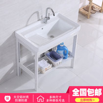 Ceramic laundry Basin stainless steel bracket Basin laundry table with washboard balcony ultra-deep laundry tank pool laundry cabinet