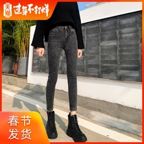 Add velvet jeans female 2019 autumn and winter thick new high-waisted thin smoke gray skinny pants outside