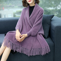 Spring and autumn cashmere shawl jacket wild warm with sleeves autumn and winter cheongsam outside the tassel wool cloak cloak female