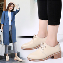 2019 autumn new British style shoes spring and autumn models leather wild soft leather black thick with small shoes shoes