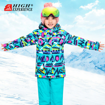 High Children ski suit suit girls boys outdoor ski clothing waterproof mountaineering clothing jackets warm cotton clothing
