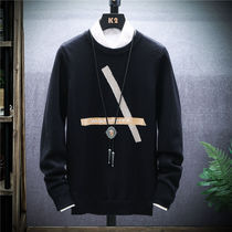 Sweater men autumn and Winter new round neck pullover Korean students slim sweater handsome bottoming shirt trend