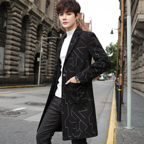 Woolen coat long British wind 2019 autumn and Winter new striped woolen coat male Korean version of the trend of clothes