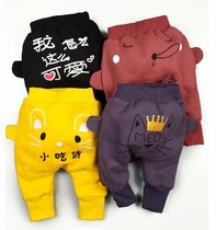 Baby Big pp Pants mens and winter clothes 0-3 year old infants thickened outside wearing trousers baby plush pants tide