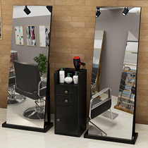 Network red barber shop mirror double-sided mirror hair salon special tide cut hair mirror solid wood floor beauty salon mirror