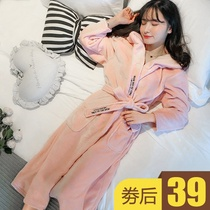 Coral velvet pajamas autumn and winter flannel bathrobe cute nightdress coral velvet nightdress female Winter thickened section