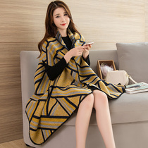 Shawl coat female spring and Autumn winter Korean version hundred cloak Cloak imitation cashmere scarf dual use long thickened new