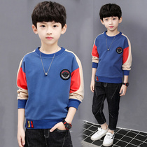 Boys long-sleeved t-shirt autumn and winter 2019 new Big children bottoming shirt plus velvet thickened children cotton T-shirt boy tide