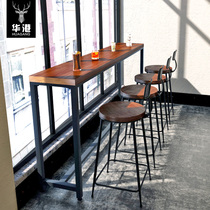 Iron home bar table minimalist wall small marble solid wood bar table bar table cafe table and chair