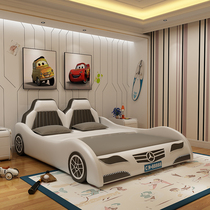 Fashion childrens leather bed cartoon Benz sports car bed 1 2m 1 5M Boys Girls creative fence car bed