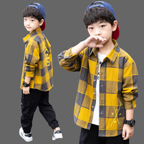Childrens clothing boys shirt long-sleeved spring and autumn in 2019 New childrens boys plaid cotton shirt tide
