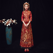 Xiu wo clothing bride 2019 new wedding Chinese Red show kimono antique toast clothing Slim was thin Dragon and Phoenix gown