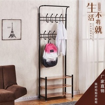 Multifunctional coat rack living room door floor one-piece hanger economic combination shoe rack bedroom iron frame
