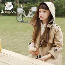 Girls windbreaker 2019 New incense Shadow childrens clothing in the Big childrens hooded jacket in the long section of the British spring and autumn