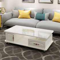 Coffee table TV cabinet combination European round coffee table living room small apartment creative simple modern tempered glass coffee table