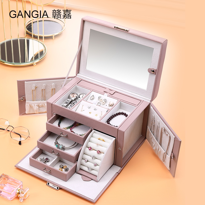 Yu Jia jewelry box storage box princess European-style Korean jewelry ring studs with locks large-capacity high-end wedding.