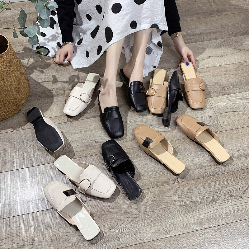 YU/&XIN-Spring and Autumn Womens Shoes Summer street Pu diamond drill with ladys toe slippers