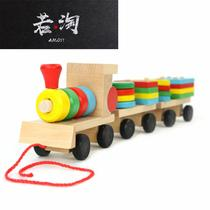 Wooden drag three small train disassembly shape matching baby color cognitive toys Montessori early teaching aids
