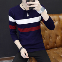 Autumn mens round neck thin section sweater youth Korean slim sweater Tide mens pullover sweater