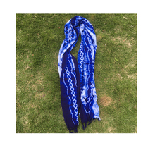 Blue dyed tie-dyed scarf shawl elegant and elegant decorative art background national wind personality gift tie-dye cloth table flag