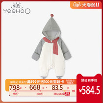 British baby boys and girls hooded romper autumn and Winter new coral velvet with shoes and socks 11093200