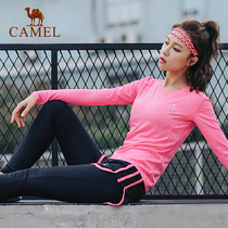 Camel autumn sports womens knit suit outdoor T-shirt quick-drying trousers running fitness yoga clothes 2 sets