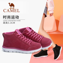 Camel 2018 autumn new high-top shoes female round head strap with casual flat non-slip platform shoes