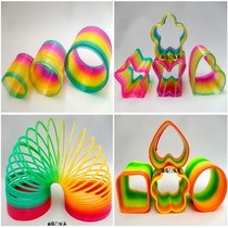 80后 Nostalgic toy large rainbow Circle Magic plastic Spring circle stacked ring luminescent elastic Ring Ring Game