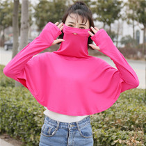 Modal sun protection clothing women high collar cover face breathable masks one summer riding anti-UV shade shawl thin