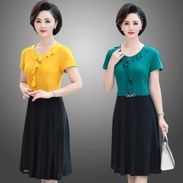 Middle-aged women's short-sleeved fashion casual dress new mom summer dress medium long large size loose-fitting slim skirt