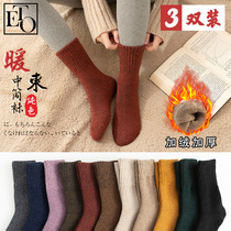 Wool socks female cotton socks female tube socks winter plus velvet thickening Winter Warm Korean version of long socks autumn and winter