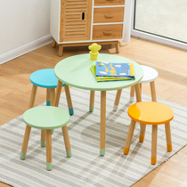 Kindergarten solid wood childrens table and chair set baby table chair home writing table early education game table toy table