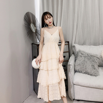 Dile-Cho knee is very small French minority dress in the long section of the waist small fresh sundresses slim bottoming