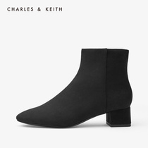 CHARLES & KEITH2019 autumn new product CK1-91680058 solid color simple round head with boots women